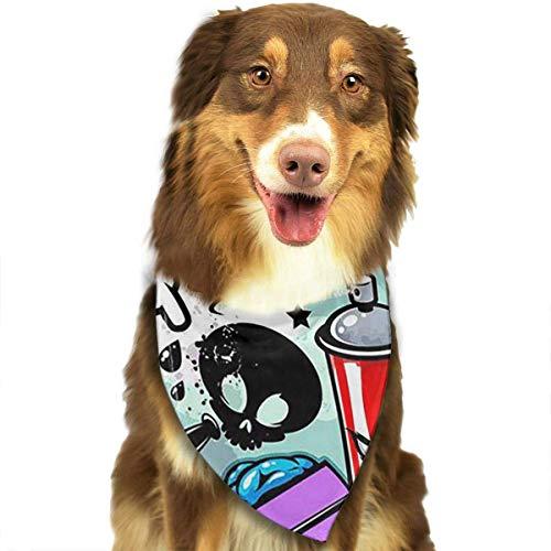 nxnx Bandana-Washable and Adjustable Pet Triangle Scarf Bibs Cartoon Trippy Graffiti Art Accessories for Small Medium Large Dogs/Cats (Boxer Dog Kostüm)