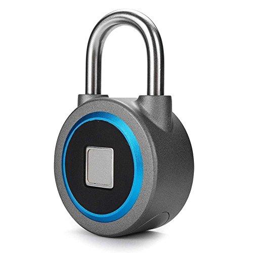 Fingerabdruck Vorhängeschloss, Bluetooth-Verbindung Metall Wasserdicht, Geeignet für Haus Tür, Rucksack, Koffer, Fahrrad, Fitnessstudio, Büro, App ist geeignet für Android/iOS