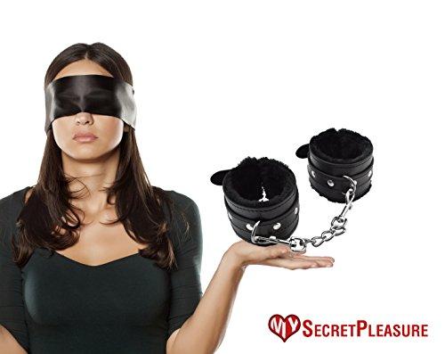 Hochwertige Schwarze Augenbinde und Plüsch-Handfessel / Handschellen Set - Erotik Set für Frauen und Männer sowie Paare