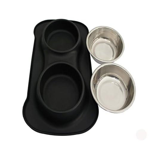 1 Tappetino Silicone Anti-Pieno e Ciotola Silicone Antiscivolo comprende 2 Serie Ciotole in Acciaio Inox Ciotola Alimentazione Sicurezza in Silicone per Animale Domestico