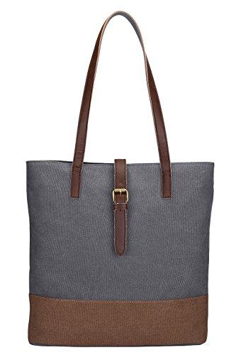 S-ZONE Frauen beiläufige Handtaschen Segeltuch Oberseiten Handgriff Beutel für 14 Inch Laptop Schulter Einkaufstaschen (Handtasche Vintage Schulter)