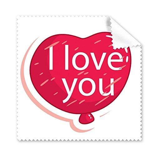 JINSH Valentinstag Rosa Herz geformt Ich Liebe Dich Ballon Illustration Muster Glas Tuch Reinigungstuch Telefon Bildschirmreiniger