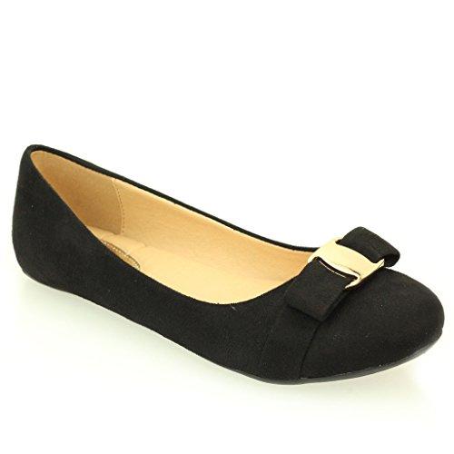 Femmes Dames Soir Casual Confort Ballerinas Plat Pompes Escarpins Sandale Chaussures Taille (Noir, Marron, Taupe) Noir
