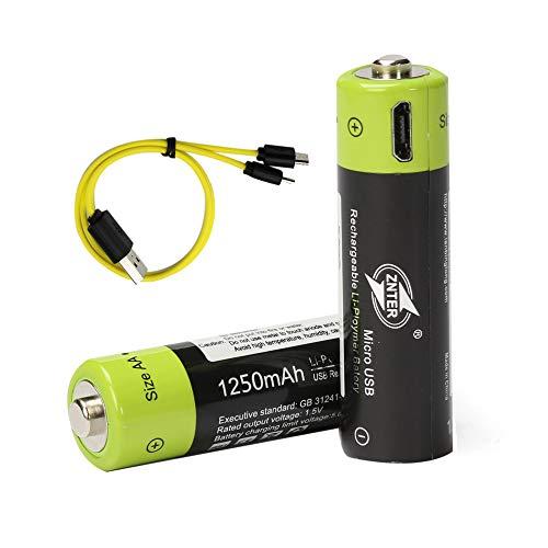 Polymer Li-ionen-pack (2er Pack ZNTER Polymer-Lithium-Batterie Intelligentes Mini USB Batterieladegerät AA wiederaufladbare Batterien mit LED Anzeig 1250mAh)
