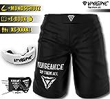 Vengeance Premium Short | + Protection de la Bouche E-Book (HCG-Diät) | XS - 4XL | MMA, Krav MAGA, BJJ, Box, Kickboxing, Sports de Combat, Fitness | Short | Homme & Femme, XXXXL