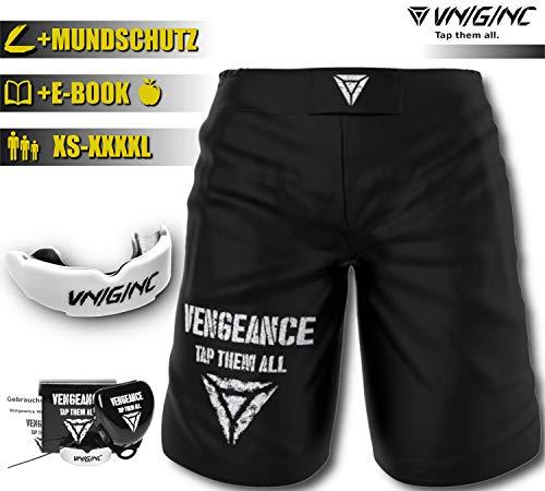 Vengeance MMA Premium Shorts + Gratis MUNDSCHUTZ (Werbeaktion) für MMA, BJJ, No Gi Grappling, Boxen, Kickboxen, Kampfsport - Kurze Hose für Damen/Herren - reißfestes Material - höchste Qualität (XXL)