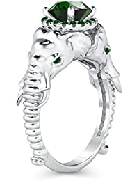 Silvernshine Halo Round Cut Simulated Green Garnet CZ Diamond 18K White Gold Plated Elephant Ring