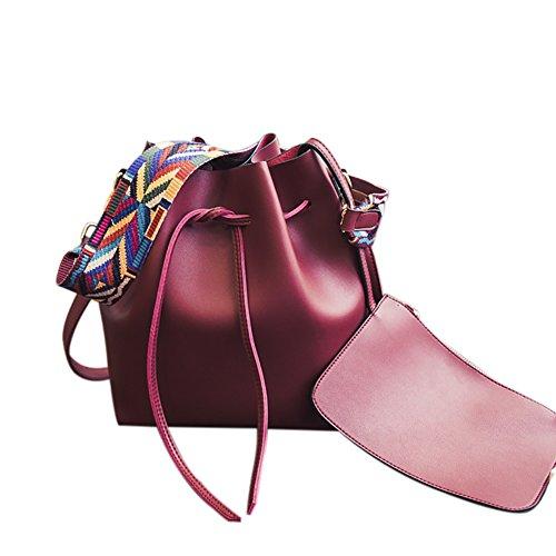 QZUnique Damen PU Leder Kordelzug Eimer Tasche Crossbody Bag Schultertasche Geldbörse mit bunten Riemen, Rot (weinrot), Einheitsgröße