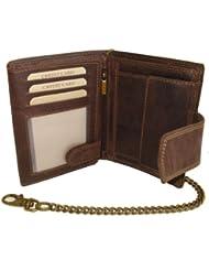 Biker Portefeuille pour homme et femme avec la chaà ne et fermeture extérieure Vintage-Style (compris la boà te-cadeau) LEAS MCL, cuir véritable, marron - ''LEAS Chain-Series''