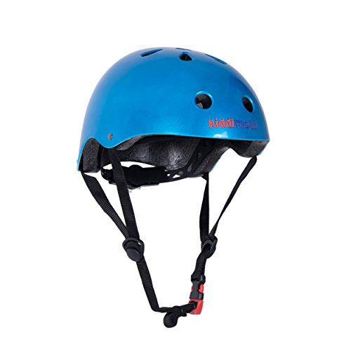 Kiddimoto KMH070/M - Fahrrad Skater Helm für Kinder Blau Metallic, Gr.M (5-14 Jahre)