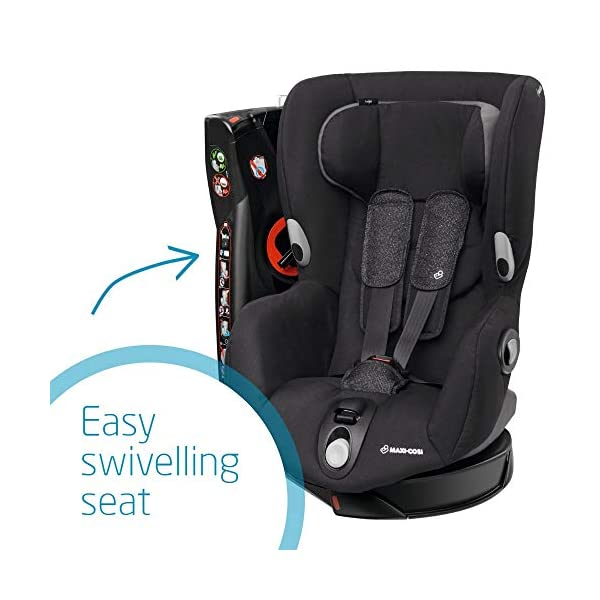 Maxi-Cosi Axiss Swiveling Toddler Car Seat, Extra Secure Fit, Reclining, 9 Months-4 Years, 9-18 kg, Triangle Black Maxi-Cosi Toddler car seat, suitable from 9 months to 4 years (9-18 kg) Swivels 90 degrees allows for front-on access to get your toddler in and out of the car more easily Maxi-Cosi Axiss car seat has eight comfortable recline positions 4