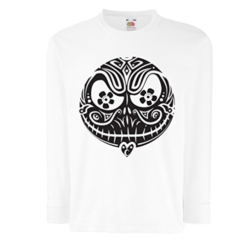 Kinder-T-Shirt mit Langen Ärmeln Das Schädel-Gesicht - Der Alptraum - gruselige Halloween-Nacht (3-4 Years Weiß Mehrfarben)