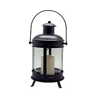 anitex B0066Decorative Lantern with Candle, Iron, Black