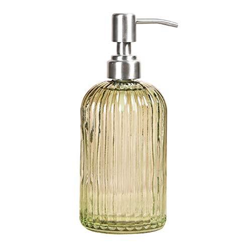 IDABAY Botella Dispensador de Vidrio para jabón Liquido/Champú/Loción/Crema Corporal/Aceites de Masaje/Crema de Ducha 500ml Uso para hogar, Restaurante y Hotel