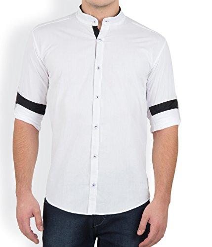 GHPC Cotton Stand Collar Casual Shirt(CS62312_White_36)
