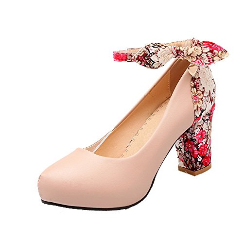 AllhqFashion Damen Weiches Material Rund Zehe Hoher Absatz Schnalle Pumps Schuhe Pink