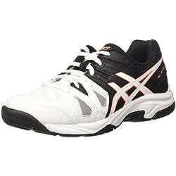 Asics Gel-Game 5 Gs, Zapatillas de Tenis, Infantil, Blanco (White/Onyx/Shocking Orange), 37 EU