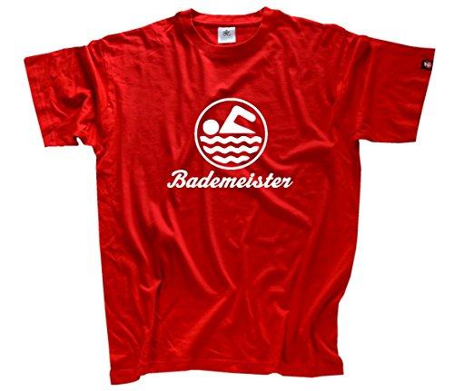 Bademeister III Schwimmbad Freibad (echter Siebdruck handmade in Germany) T-Shirt Rot M
