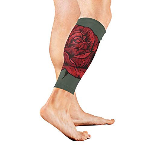 Calf Compression Sleeve for Men & Women, Premium Leg Compression Socks for Shin Splints and Varicose Veins, Elastic Footless Sleeve for Running, Cycling, Travel & Recovery, Red Plaid -