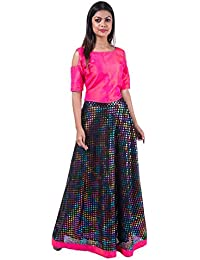 Mamosa Deep Pink Silk Crop Top With Printed Silk Fashionable Long Umbrella Skirt Set For Womens Comfortable Stitched...
