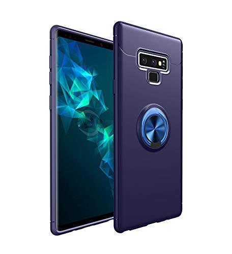 9 Mount (jeeri Handyhülle für Samsung Galaxy Note 9 Ringhalter Hülle Silikon 360 Grad Drehbar Cover TPU Bumper Dual Layer Stoßfest, Kompatibel mit Magnetic Car Mount Handyhülle (Galaxy Note 9, Blau))