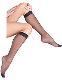 VCA® - Lot de 10, 15 ou 20 paires de mi-bas avec bord confort - 20 deniers - noir/couleur peau
