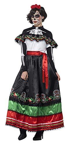 Smiffys 44937S - Damen Tag der Toten Senorita Kostüm, Größe: 36-38, mehrfarbig
