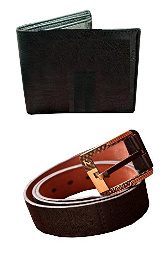 Generic New wood land wallet and kalewanshen belt Black (combo)