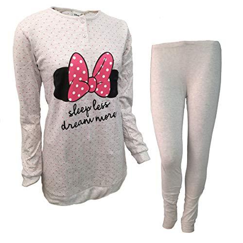 Disney pigiama donna maxi blusa con leggings in caldo cotone minnie art. wd20610 (42/s, grigio)