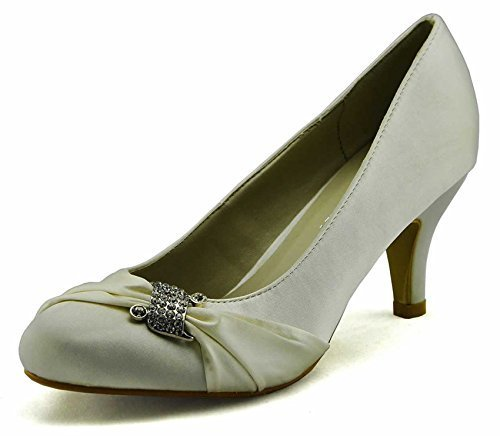 Sandals Damen Braut Court Satin Heel Party Bow Pumps New Size 3-8 Stil 1 - Elfenbein