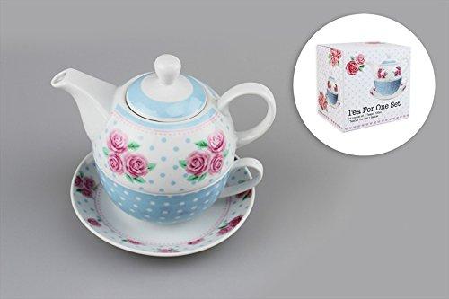Tea-for-one servizio da tè, teiera con set tazza e piattino, a pois con motivo floreale pastello