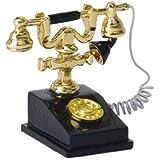 Téléphone de Bureau Rétro Vintage Miniature pour 1/12 Maison de Poupée (Noir)