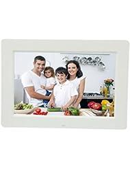 LINGHOU Marco de fotos digital con sensor de movimiento de 13 pulgadas HD Widescreen LED Digital Photo Frames Álbum electrónico , white