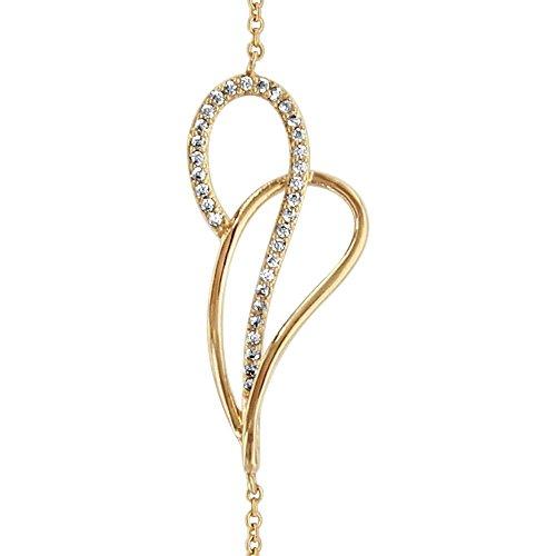 So chic gioielli© bracciale lunghezza regolabile: 16a 18cm goccia crociata ossido di zirconio bianco placcato oro 750