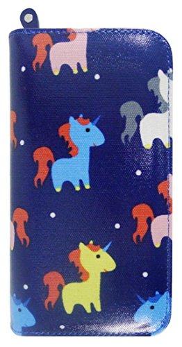 Kukubird Vari Gatti Unicorni Animali Ancora Ombrello Floreale Pattern Large Signore Borsa Frizione Portafoglio Unicorn Dark Blue