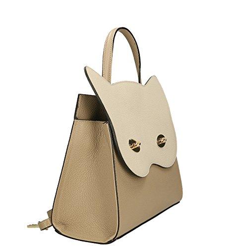 Chicca Borse Handbag Borsa a Mano in Vera Pelle Made in italy - 32x28x13 Cm Taupe - Beige