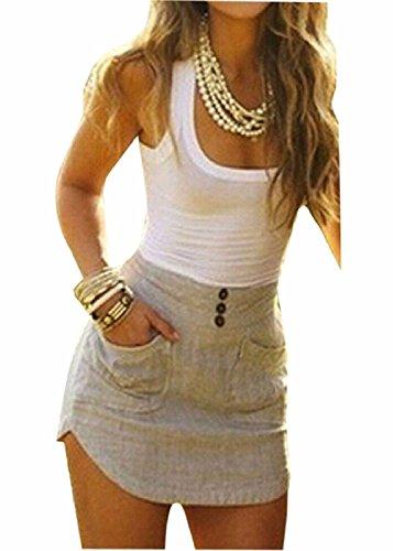 """Minetom Damen Sexy Ã""""rmellos patchwork Bodycon Duennes Mini Kurzen Kleid Sommerkleid Clubwear Abendkleid Cocktailkleid ( DE 34 )"""