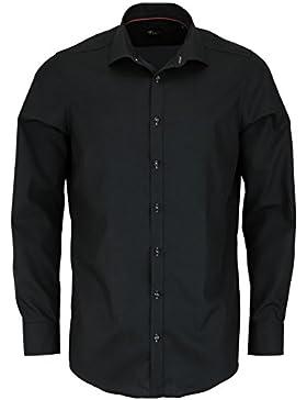 VENTI Slim Fit Hemd super langer Arm Popeline schwarz AL 72