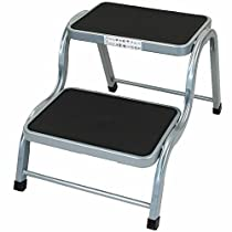 Simpa/® Small 2 Step Safety Utility Stool Ladder For Kitchen Stool Caravan Home Garden Tool DIY in Silver Colour Heavy Duty Steel Construction Lightweight Design