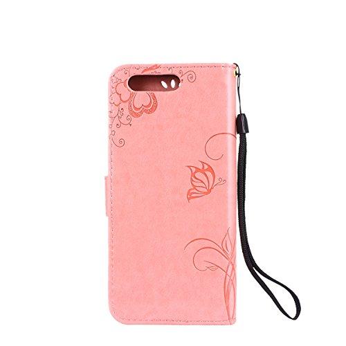 Hülle für Huawei P10, Tasche für Huawei P10, Case Cover für Huawei P10, ISAKEN Blume Schmetterling Muster Folio PU Leder Flip Cover Brieftasche Geldbörse Wallet Case Ledertasche Handyhülle Tasche Case Sonnenblume Schmetterling Pink