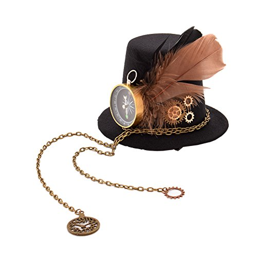 Sombreros steampunk GRACEART con Brújula Pluma Mujer de copa