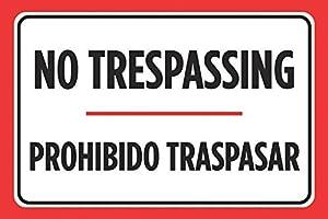 traspasar bar: Monsety Home Decor Signs No Trespassing Prohibido Traspasar - Póster de estacion...
