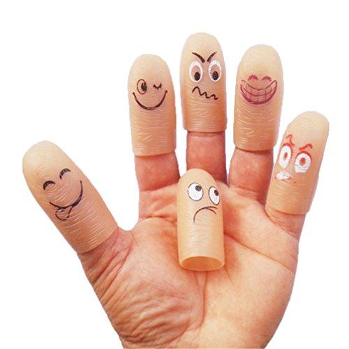 Trada Spielzeug, Emoji Emoticon LED Finger Licht Ringe Leuchten Kinder Party Favors Glow Parodie Spielzeug Silikon Fingerschutz Fingerkappen Schutz Fingerkuppen (Beige)