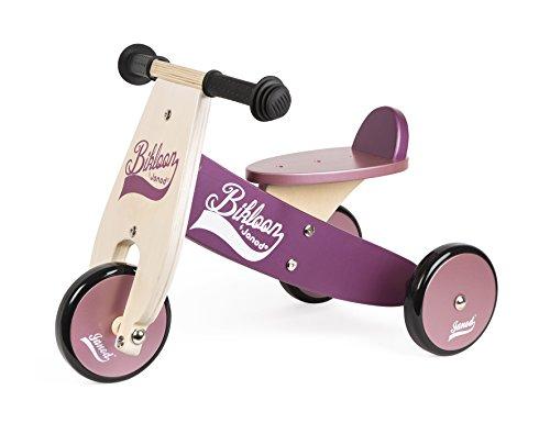 Janod - Bicicleta sin pedales Bikloon, madera, color violeta / rosa...