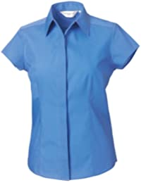 993F Russell Collection Shirt Ladies Long Sleeve Stretch Top Fitted Work Wear