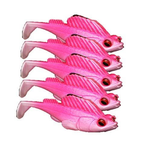 Preisvergleich Produktbild Angelköder Set Springen Fische Künstliche Weichen Köder Für Salzwasser Süßwasser Angelköder Hecht Gummifische Forelle Angelköder Lebend Trolling Naturgetreue 5pcs