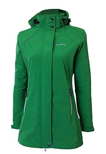 Dry Fashion Damen Softshell Mantel Sylt tailliert Regenmantel Regenjacke, Farbe:grün, Größe:44