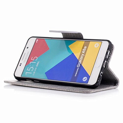 Yiizy Samsung Galaxy A5 (2016) / A510F / A510M Custodia Cover, Fiore Di Farfalla Design Sottile Flip Portafoglio PU Pelle Cuoio Copertura Shell Case Slot Schede Cavalletto Stile Libro Bumper Protettiv Grigio