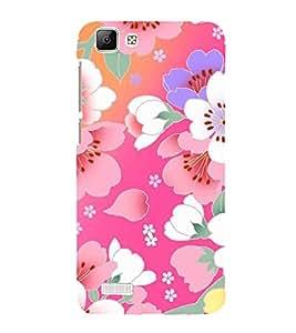 Fuson Designer Back Case Cover for Vivo V1 Max (White Flowers Pink Flowers Purple Flowers Lavender Flowers Buds)