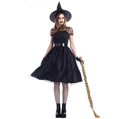 splay Black Gauze Hexenkostüm - Spielen Sie Kostüm Makeup Party Dress Hexenkostüm Temperament Hexe Nacht Ghost Game Anzug,Black,XXXL ()